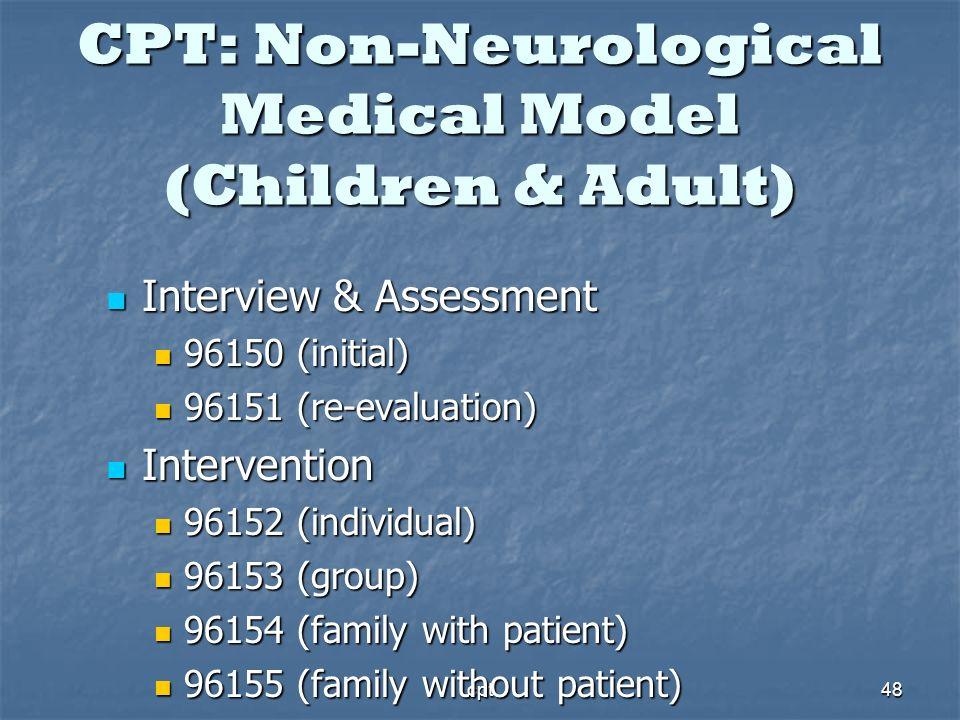 cpt48 CPT: Non-Neurological Medical Model (Children & Adult) Interview & Assessment Interview & Assessment 96150 (initial) 96150 (initial) 96151 (re-e