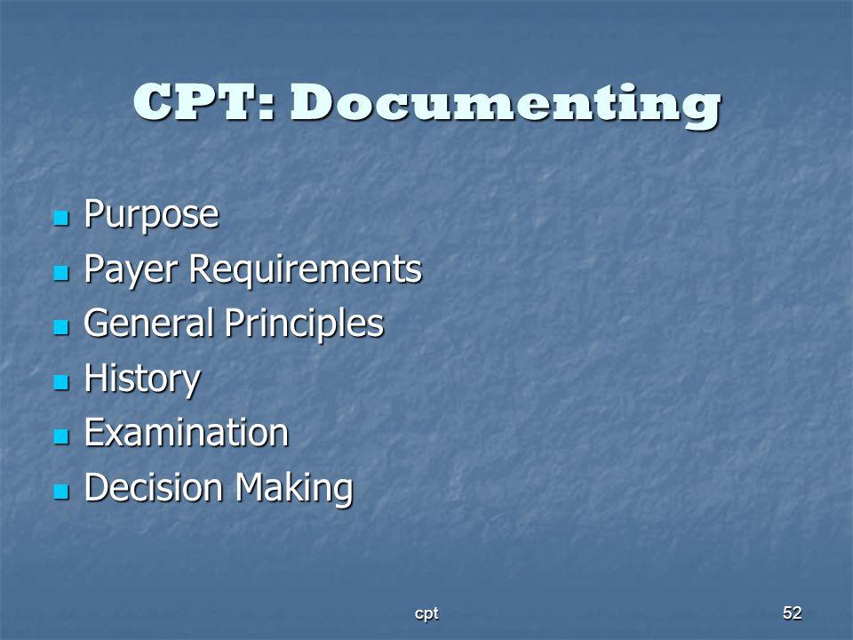 cpt52 CPT: Documenting Purpose Purpose Payer Requirements Payer Requirements General Principles General Principles History History Examination Examina