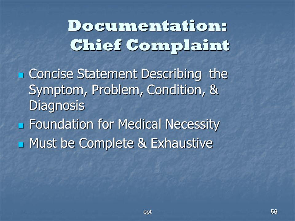 cpt56 Documentation: Chief Complaint Concise Statement Describing the Symptom, Problem, Condition, & Diagnosis Concise Statement Describing the Sympto