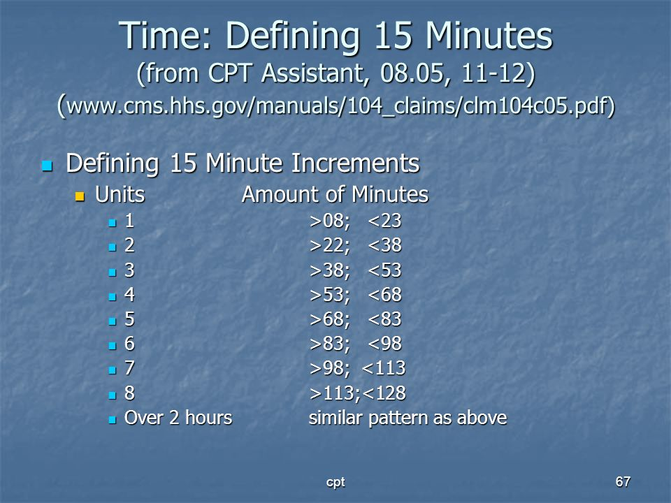 cpt67 Time: Defining 15 Minutes (from CPT Assistant, 08.05, 11-12) ( www.cms.hhs.gov/manuals/104_claims/clm104c05.pdf) Defining 15 Minute Increments D