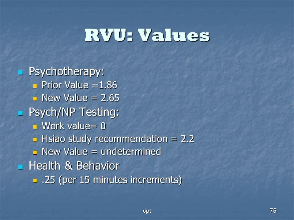 cpt75 RVU: Values Psychotherapy: Psychotherapy: Prior Value =1.86 Prior Value =1.86 New Value = 2.65 New Value = 2.65 Psych/NP Testing: Psych/NP Testi