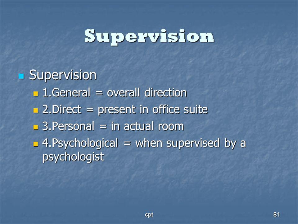 cpt81 Supervision Supervision Supervision 1.General = overall direction 1.General = overall direction 2.Direct = present in office suite 2.Direct = pr