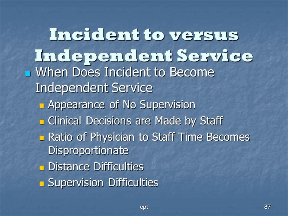 cpt87 Incident to versus Independent Service When Does Incident to Become Independent Service When Does Incident to Become Independent Service Appeara