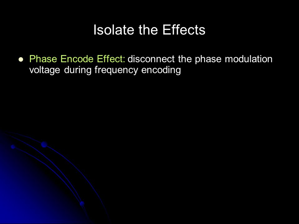 Isolate the Effects Phase Encode Effect: disconnect the phase modulation voltage during frequency encoding