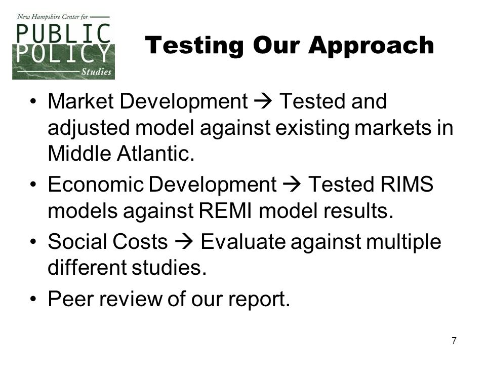 7 Testing Our Approach Market Development Tested and adjusted model against existing markets in Middle Atlantic.