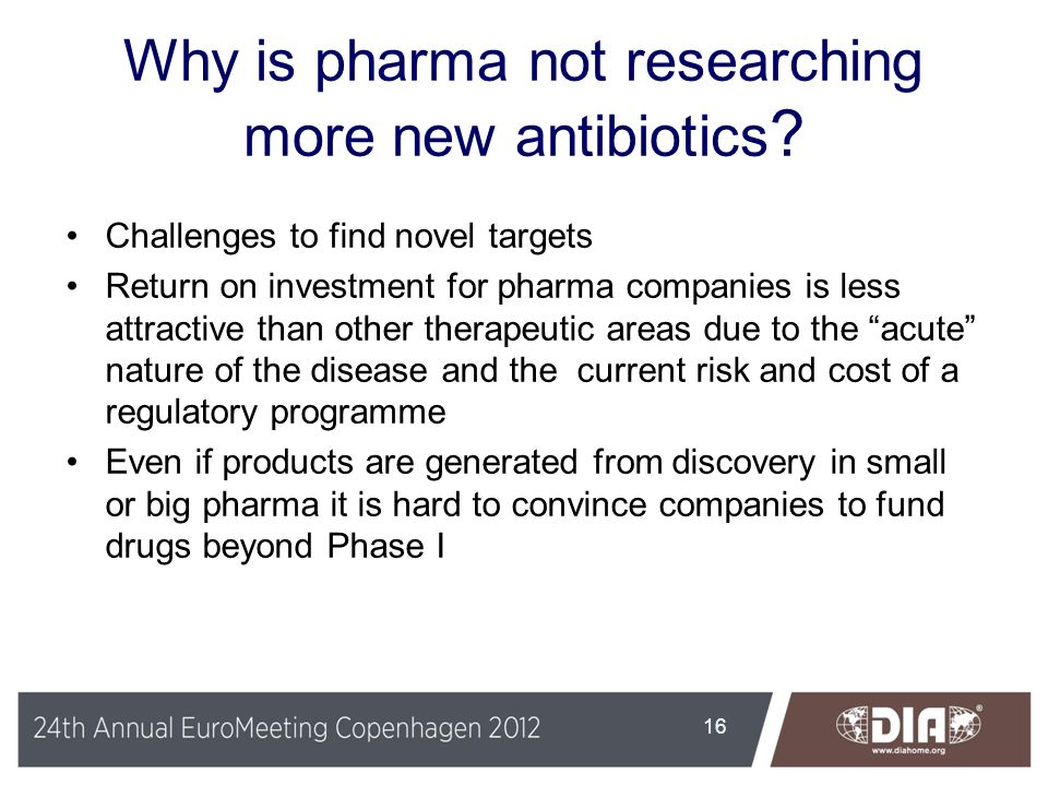 Why is pharma not researching more new antibiotics ? Challenges to find novel targets Return on investment for pharma companies is less attractive tha