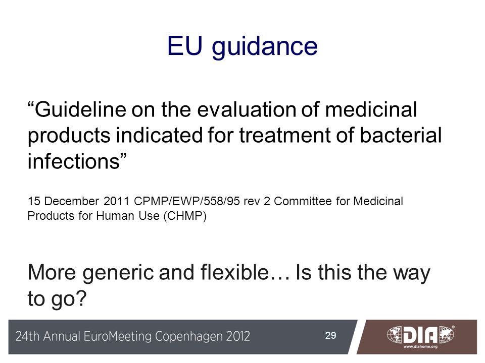 EU guidance Guideline on the evaluation of medicinal products indicated for treatment of bacterial infections 15 December 2011 CPMP/EWP/558/95 rev 2 C