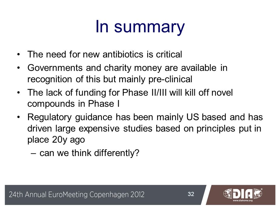 In summary The need for new antibiotics is critical Governments and charity money are available in recognition of this but mainly pre-clinical The lac