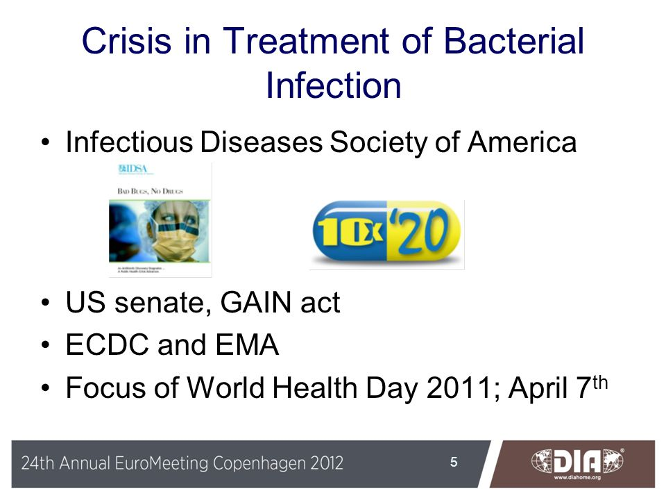 Crisis in Treatment of Bacterial Infection Infectious Diseases Society of America US senate, GAIN act ECDC and EMA Focus of World Health Day 2011; Apr