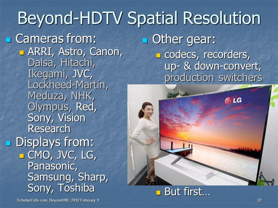 SchubinCafe.com, Beyond HD, 2012 February 9 22 Beyond-HDTV Spatial Resolution Cameras from: Cameras from: ARRI, Astro, Canon, Dalsa, Hitachi, Ikegami,