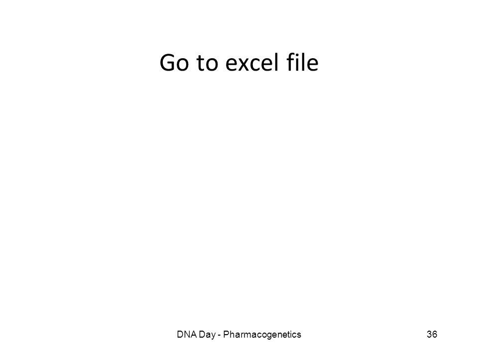 DNA Day - Pharmacogenetics36 Go to excel file