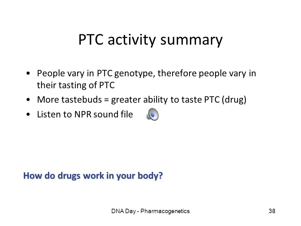 DNA Day - Pharmacogenetics38 PTC activity summary People vary in PTC genotype, therefore people vary in their tasting of PTC More tastebuds = greater
