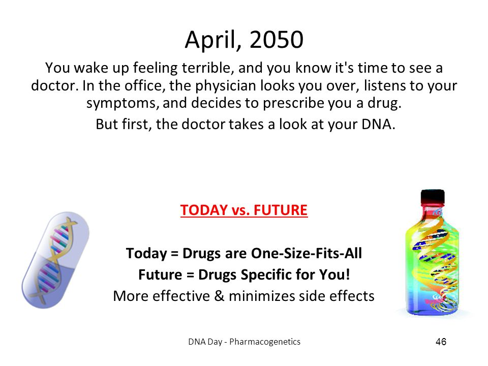 DNA Day - Pharmacogenetics 46 April, 2050 You wake up feeling terrible, and you know it's time to see a doctor. In the office, the physician looks you