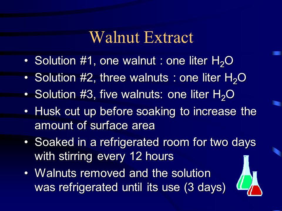 Walnut Extract Solution #1, one walnut : one liter H 2 OSolution #1, one walnut : one liter H 2 O Solution #2, three walnuts : one liter H 2 OSolution