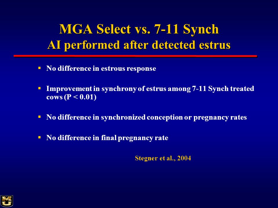MGA Select vs. 7-11 Synch AI performed after detected estrus No difference in estrous response Improvement in synchrony of estrus among 7-11 Synch tre