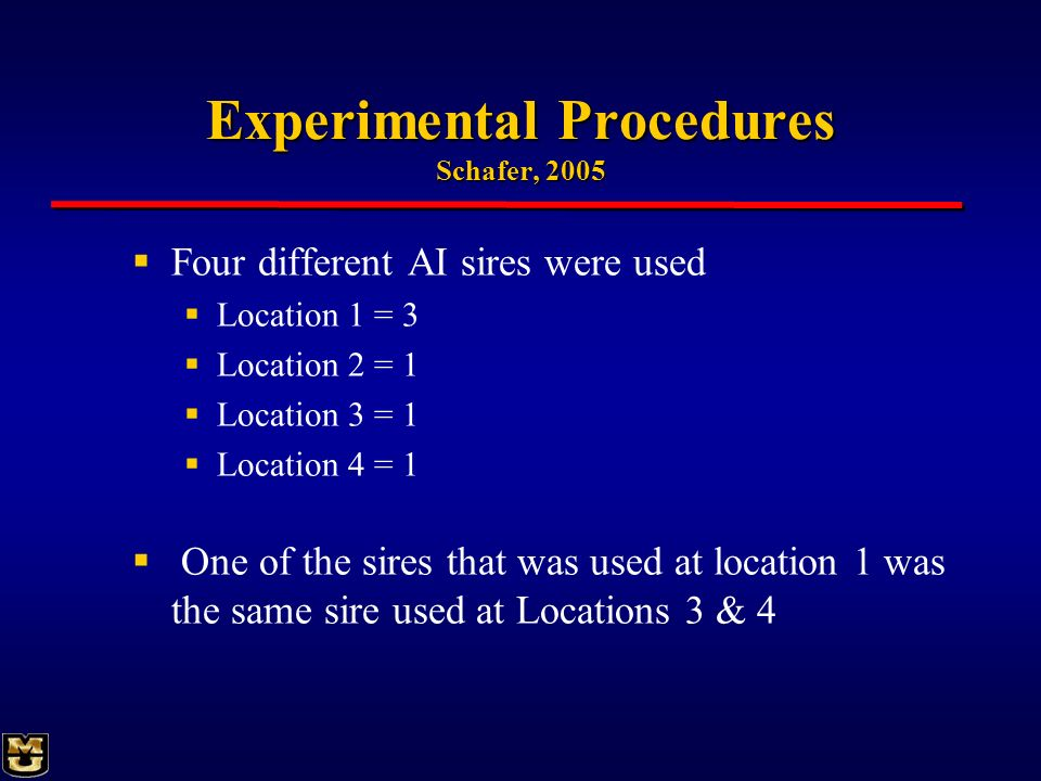 Experimental Procedures Schafer, 2005 Four different AI sires were used Location 1 = 3 Location 2 = 1 Location 3 = 1 Location 4 = 1 One of the sires t