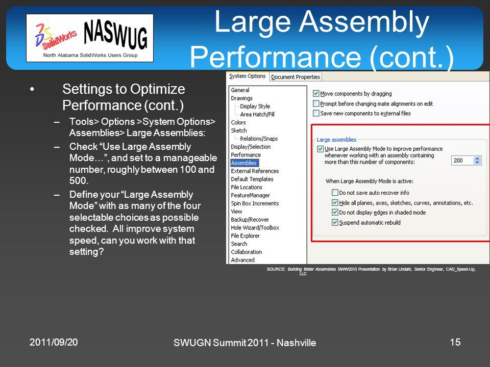 SWUGN Summit 2011 - Nashville Large Assembly Performance (cont.) Settings to Optimize Performance (cont.) –Tools> Options >System Options> Assemblies>