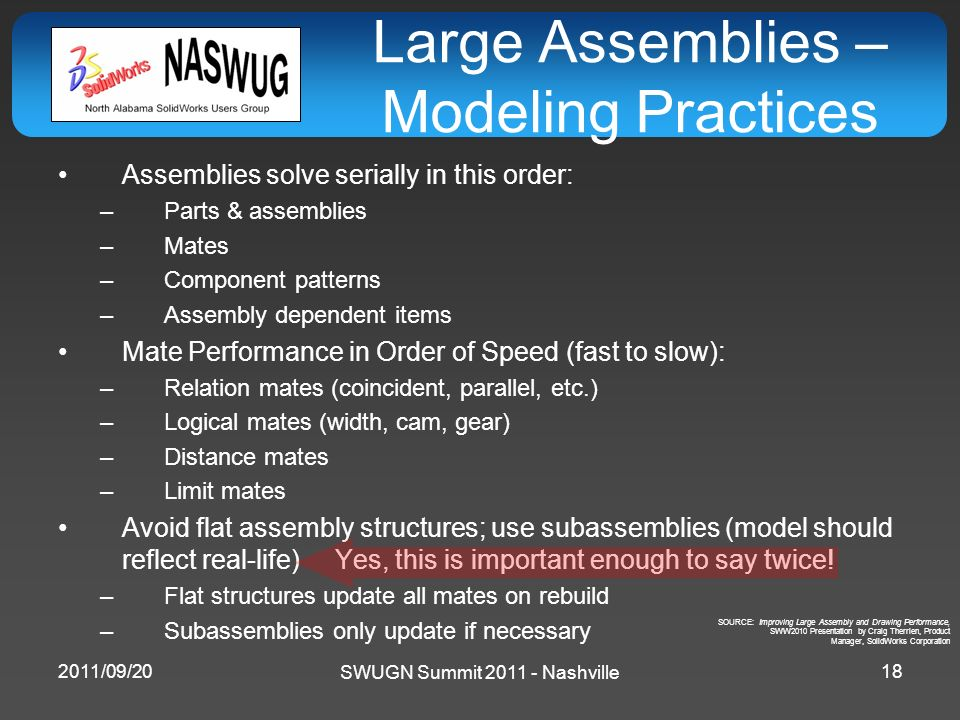 SWUGN Summit 2011 - Nashville Large Assemblies – Modeling Practices Assemblies solve serially in this order: –Parts & assemblies –Mates –Component pat