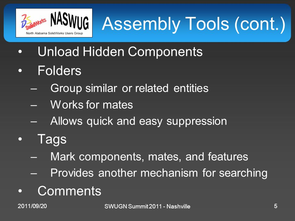 SWUGN Summit 2011 - Nashville Assembly Tools (cont.) Unload Hidden Components Folders –Group similar or related entities –Works for mates –Allows quic