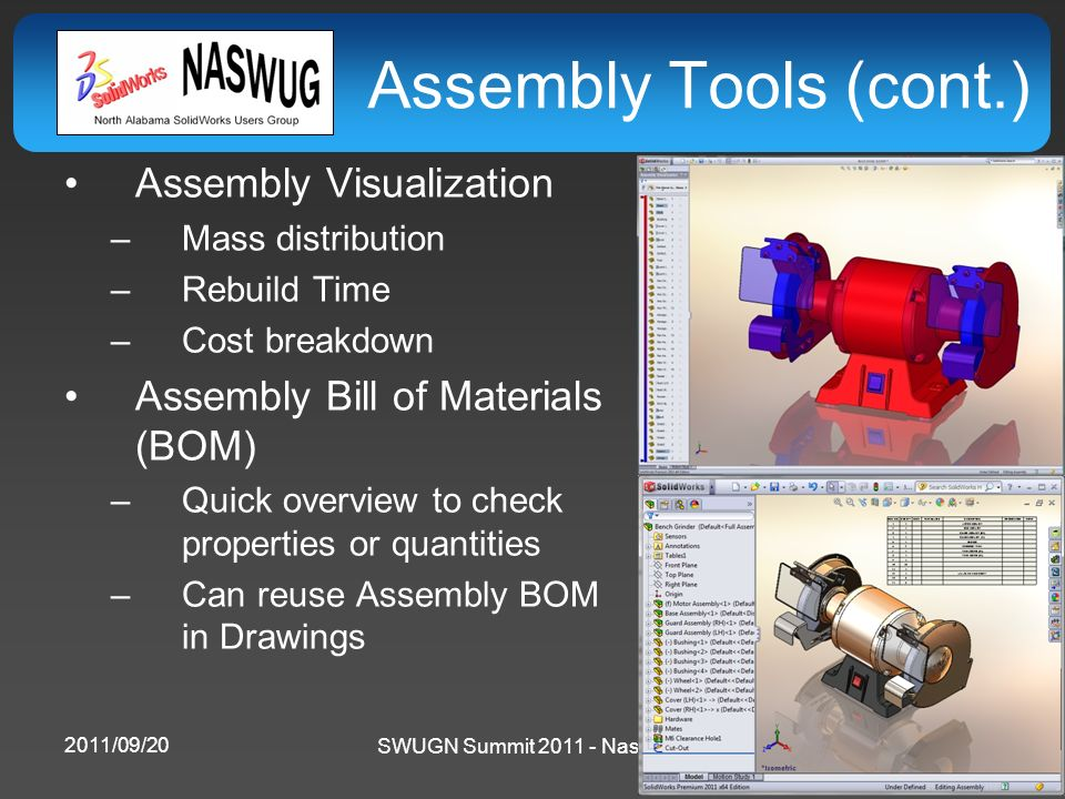 SWUGN Summit 2011 - Nashville Assembly Tools (cont.) Assembly Visualization –Mass distribution –Rebuild Time –Cost breakdown Assembly Bill of Material