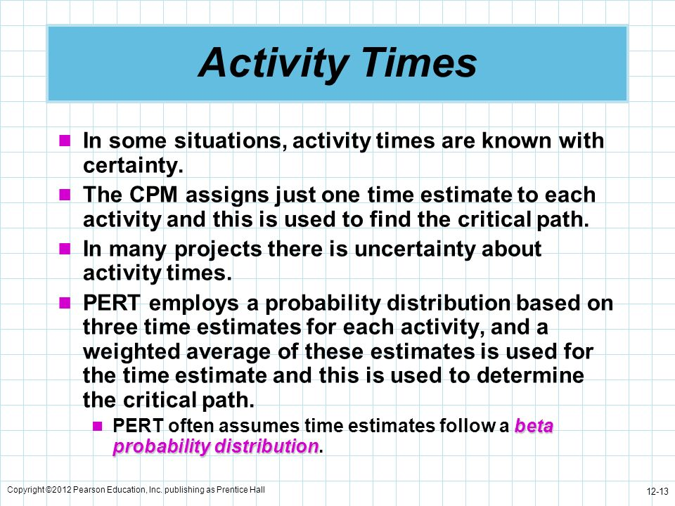 Copyright ©2012 Pearson Education, Inc. publishing as Prentice Hall 12-13 Activity Times In some situations, activity times are known with certainty.