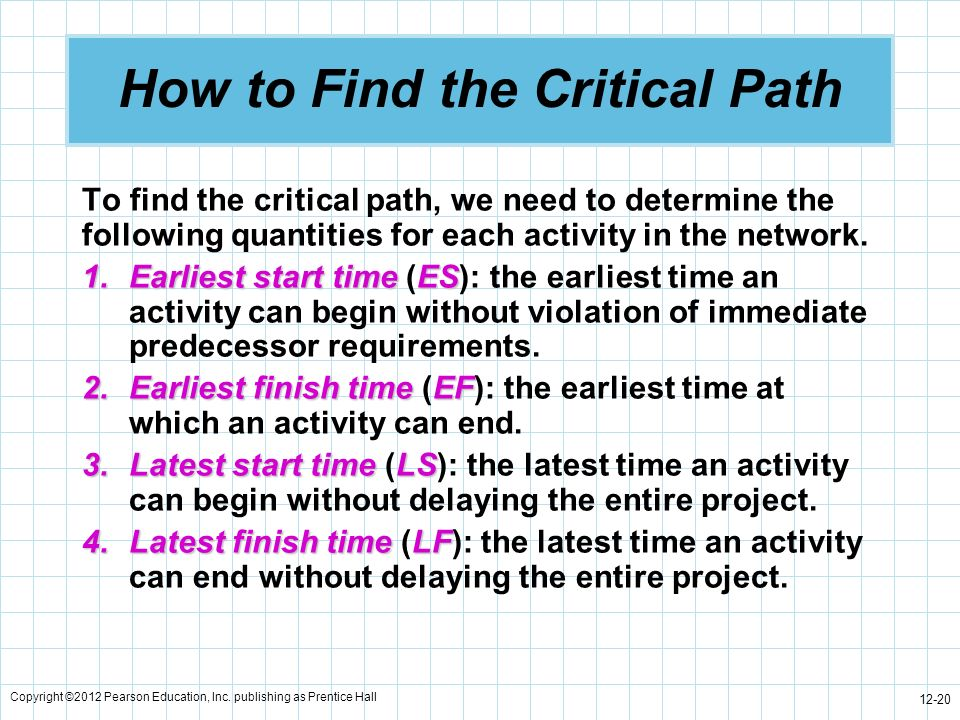 Copyright ©2012 Pearson Education, Inc. publishing as Prentice Hall 12-20 How to Find the Critical Path To find the critical path, we need to determin