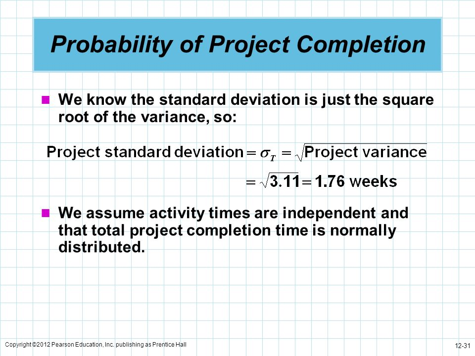 Copyright ©2012 Pearson Education, Inc. publishing as Prentice Hall 12-31 Probability of Project Completion We know the standard deviation is just the