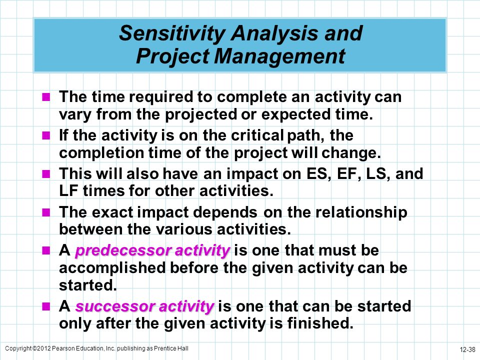 Copyright ©2012 Pearson Education, Inc. publishing as Prentice Hall 12-38 Sensitivity Analysis and Project Management The time required to complete an
