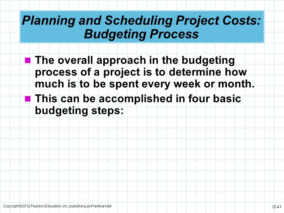 Copyright ©2012 Pearson Education, Inc. publishing as Prentice Hall 12-41 Planning and Scheduling Project Costs: Budgeting Process The overall approac