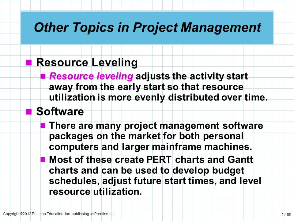 Copyright ©2012 Pearson Education, Inc. publishing as Prentice Hall 12-68 Other Topics in Project Management Resource Leveling Resource leveling Resou