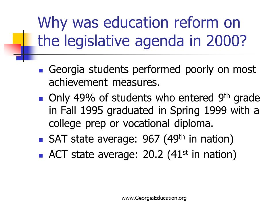 www.GeorgiaEducation.org Why was education reform on the legislative agenda in 2000? Georgia students performed poorly on most achievement measures. O