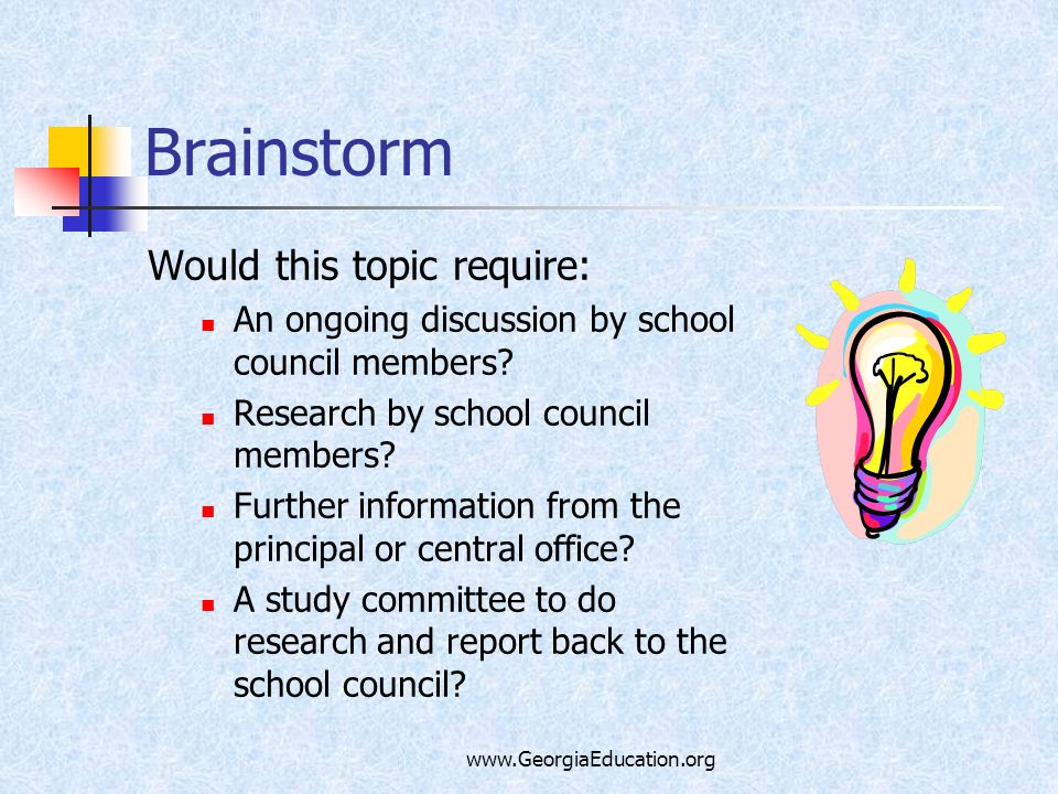 www.GeorgiaEducation.org Brainstorm Would this topic require: An ongoing discussion by school council members? Research by school council members? Fur