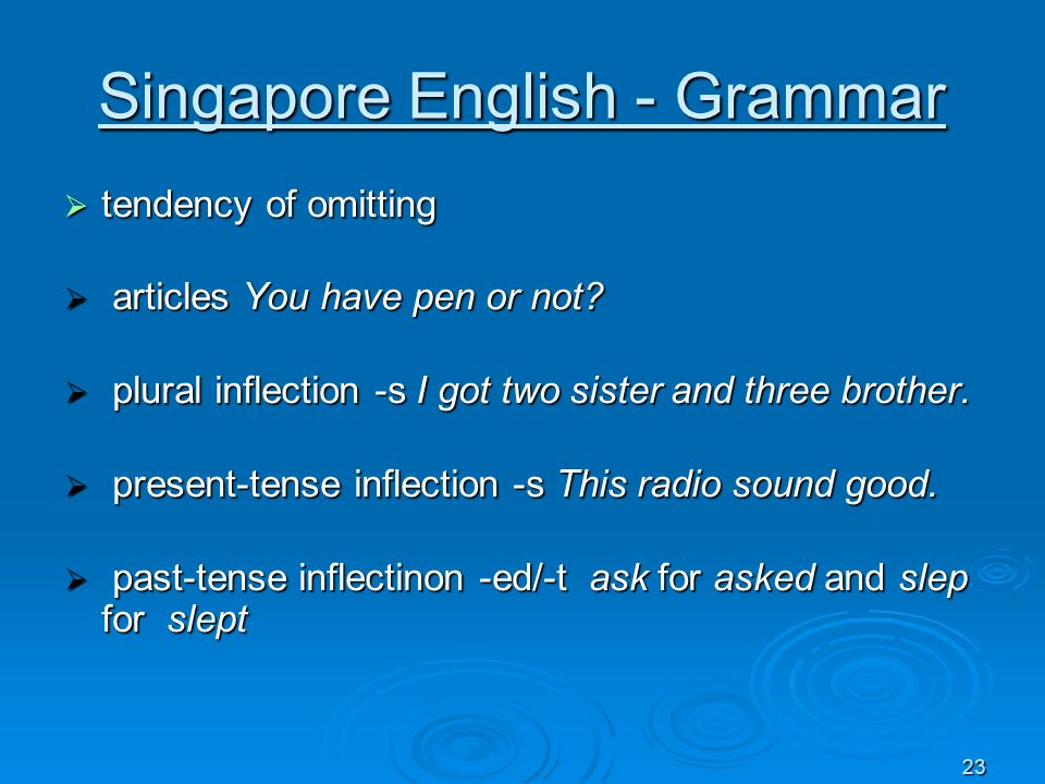 23 Singapore English - Grammar tendency of omitting tendency of omitting articles You have pen or not? articles You have pen or not? plural inflection