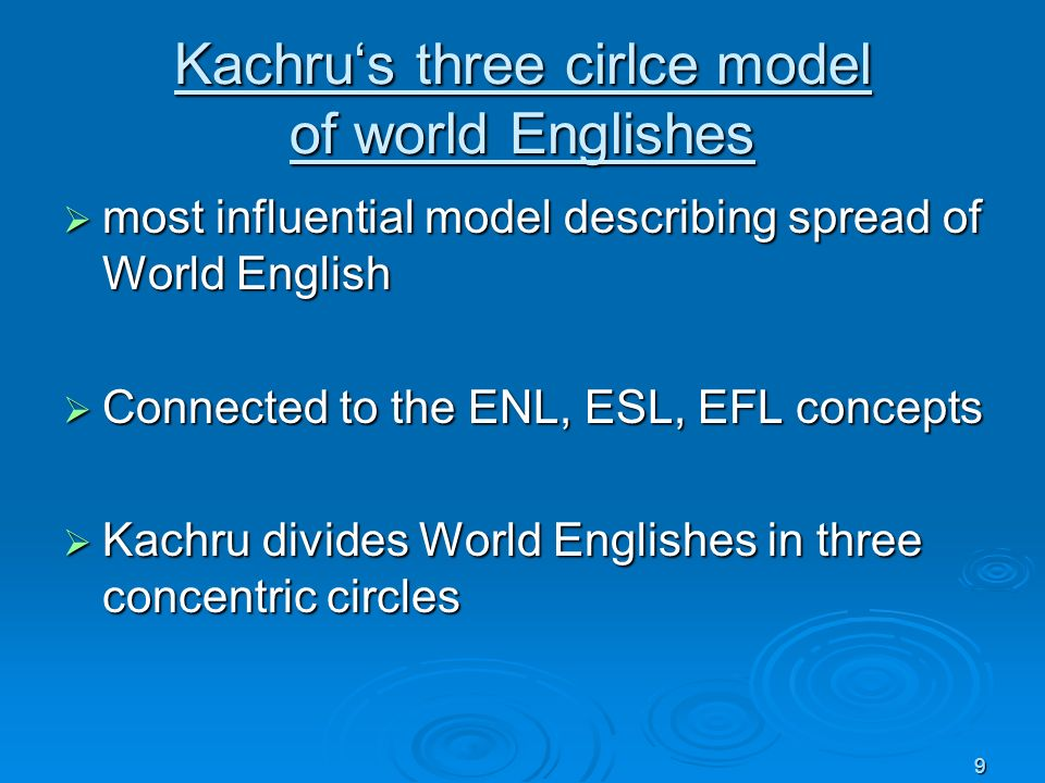 9 Kachrus three cirlce model of world Englishes most influential model describing spread of World English most influential model describing spread of