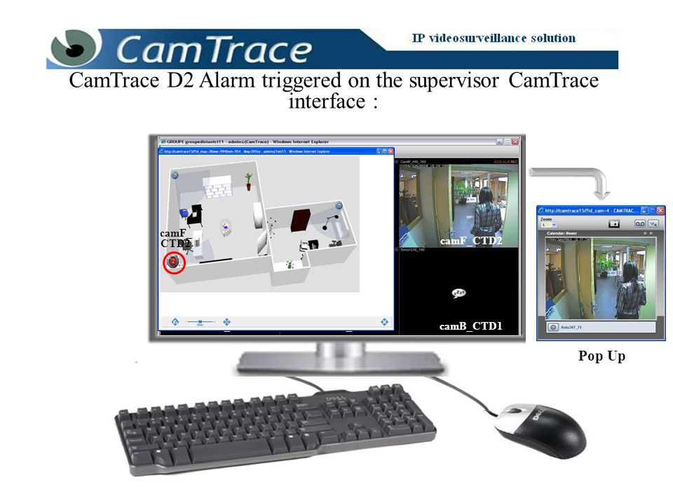 CamTrace D2 Alarm triggered on the supervisor CamTrace interface : Pop Up camA_CTD1 camJ_CTD3 camF_CTD2 camB_CTD1camH_CTD2 camK_CTD3 camA_CTD1 camJ_CT