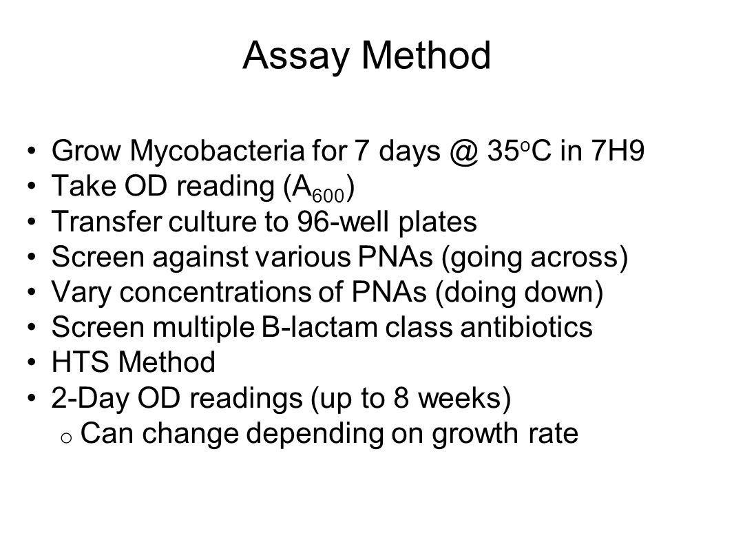 Assay Method Grow Mycobacteria for 7 days @ 35 o C in 7H9 Take OD reading (A 600 ) Transfer culture to 96-well plates Screen against various PNAs (goi