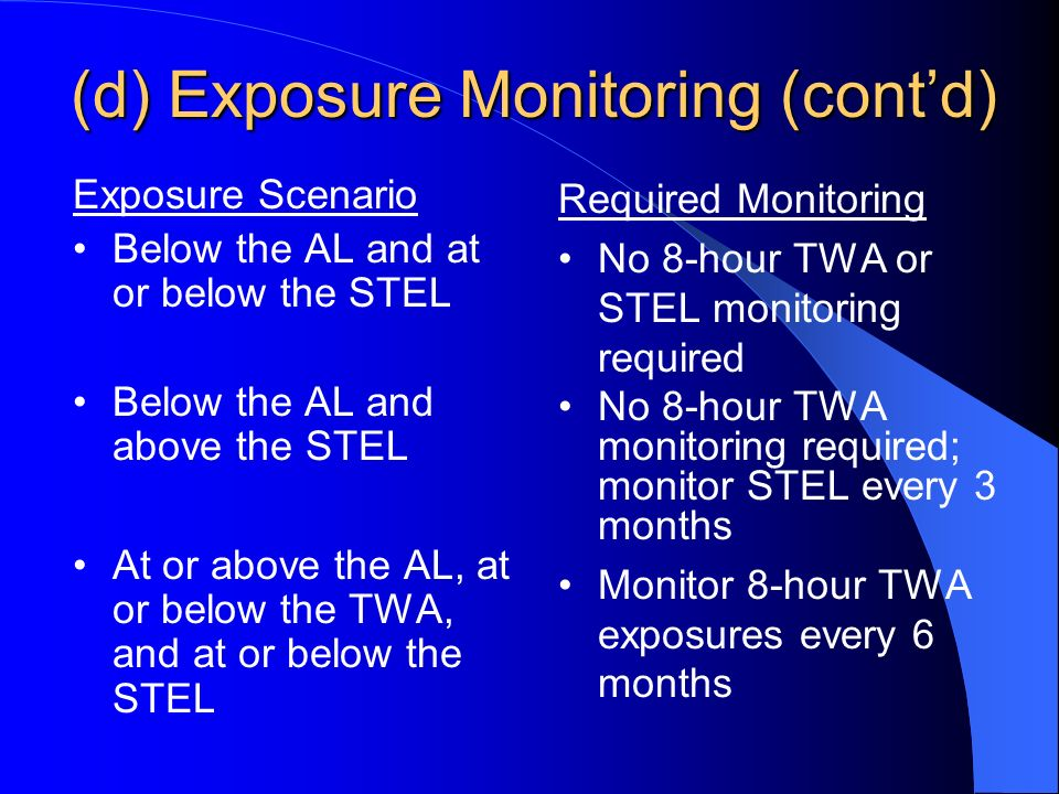 (d) Exposure Monitoring (contd) Exposure Scenario Below the AL and at or below the STEL Below the AL and above the STEL At or above the AL, at or below the TWA, and at or below the STEL Required Monitoring No 8-hour TWA or STEL monitoring required No 8-hour TWA monitoring required; monitor STEL every 3 months Monitor 8-hour TWA exposures every 6 months