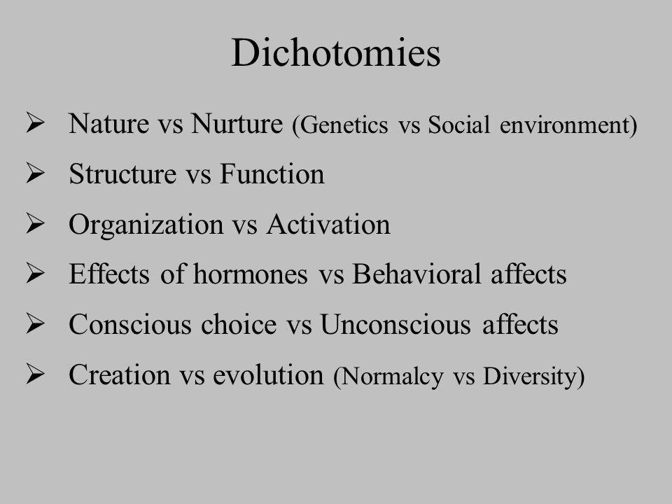 Dichotomies Nature vs Nurture (Genetics vs Social environment) Structure vs Function Organization vs Activation Effects of hormones vs Behavioral affe