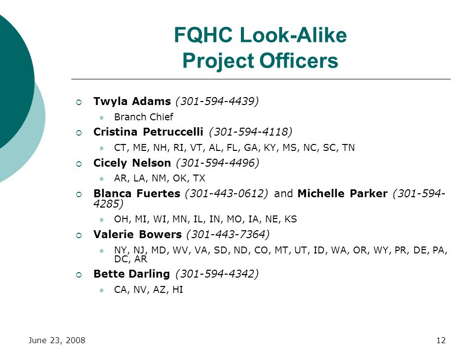 June 23, 200812 FQHC Look-Alike Project Officers Twyla Adams (301-594-4439) Branch Chief Cristina Petruccelli (301-594-4118) CT, ME, NH, RI, VT, AL, F
