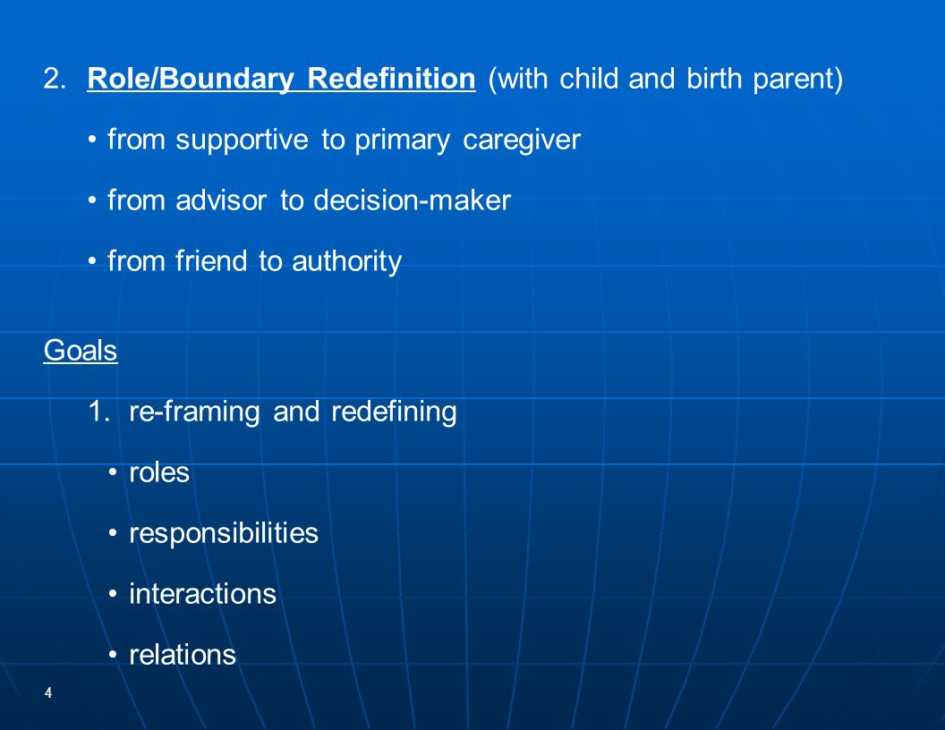 4 2.Role/Boundary Redefinition (with child and birth parent) from supportive to primary caregiver from advisor to decision-maker from friend to author