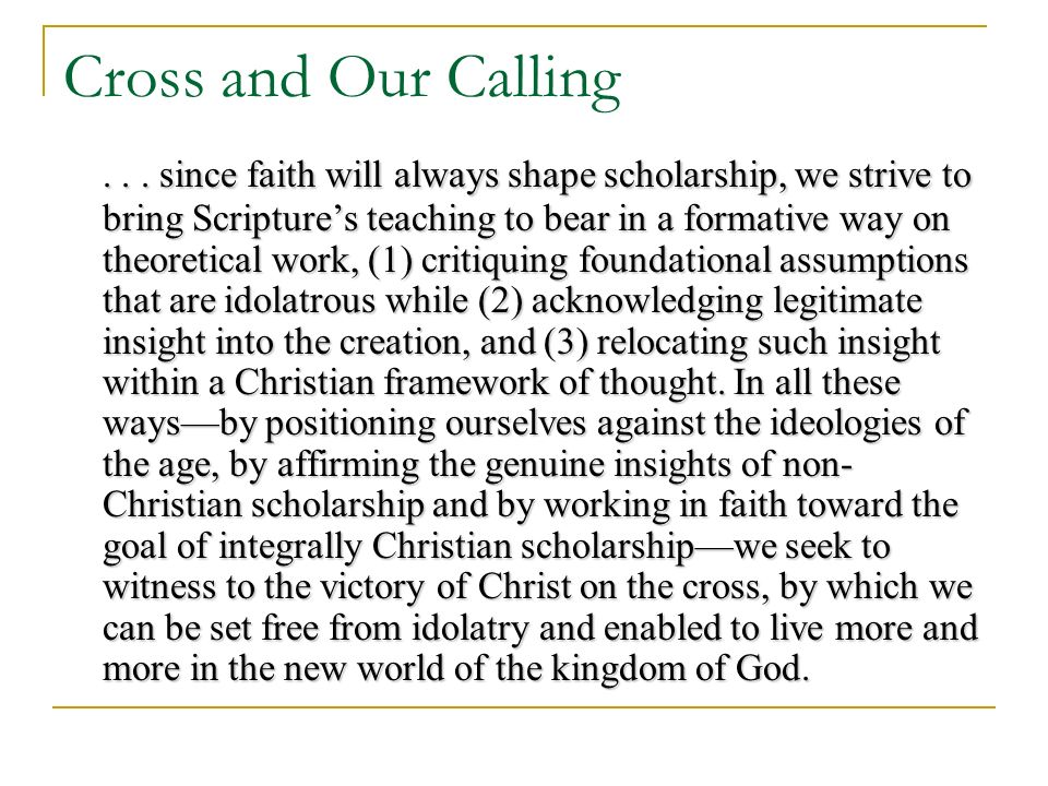 Cross and Our Calling...