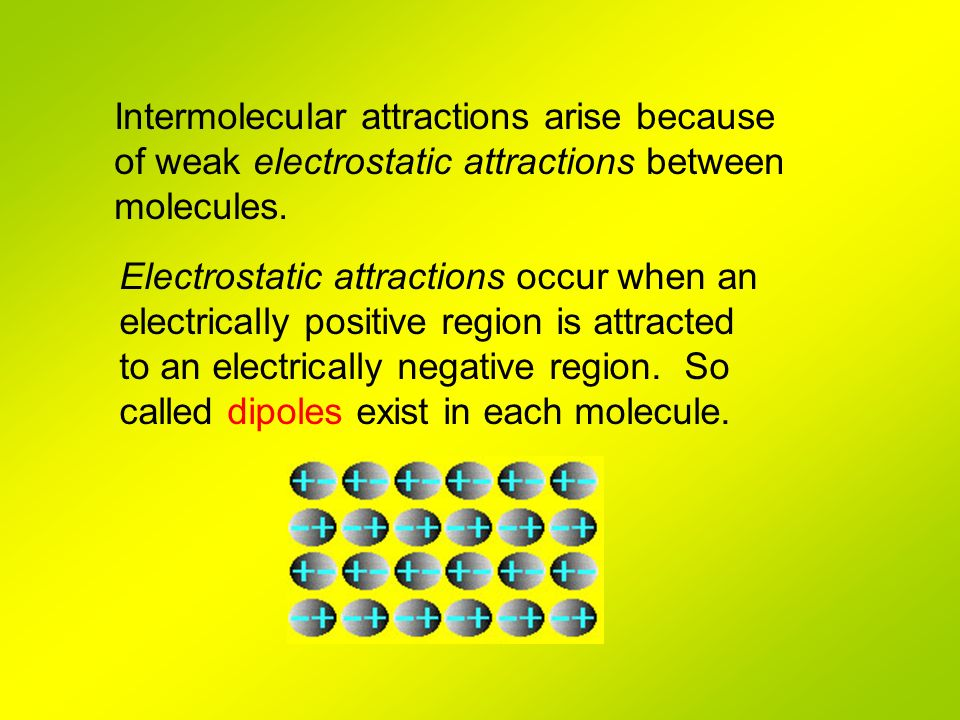 Electrostatic attractions occur when an electrically positive region is attracted to an electrically negative region. So called dipoles exist in each