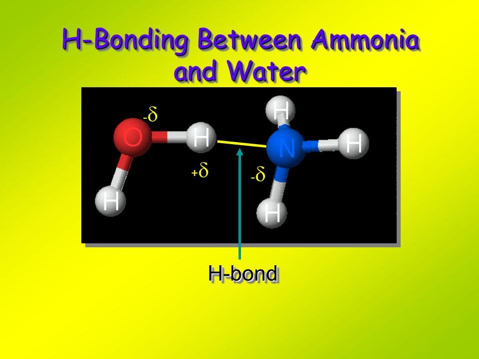 H-Bonding Between Ammonia and Water H-bondH-bond - + -