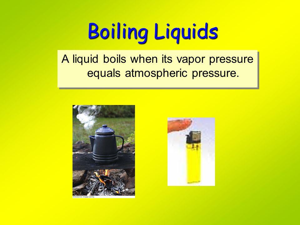 Boiling Liquids A liquid boils when its vapor pressure equals atmospheric pressure.