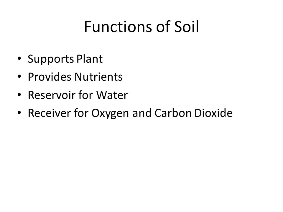 Functions of Soil Supports Plant Provides Nutrients Reservoir for Water Receiver for Oxygen and Carbon Dioxide
