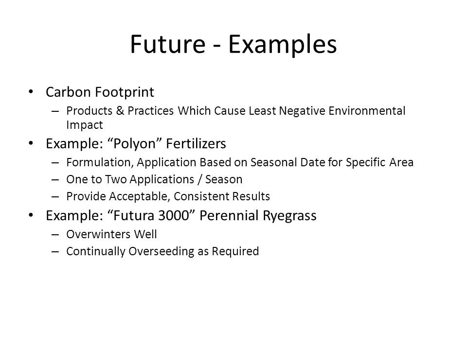 Future - Examples Carbon Footprint – Products & Practices Which Cause Least Negative Environmental Impact Example: Polyon Fertilizers – Formulation, A