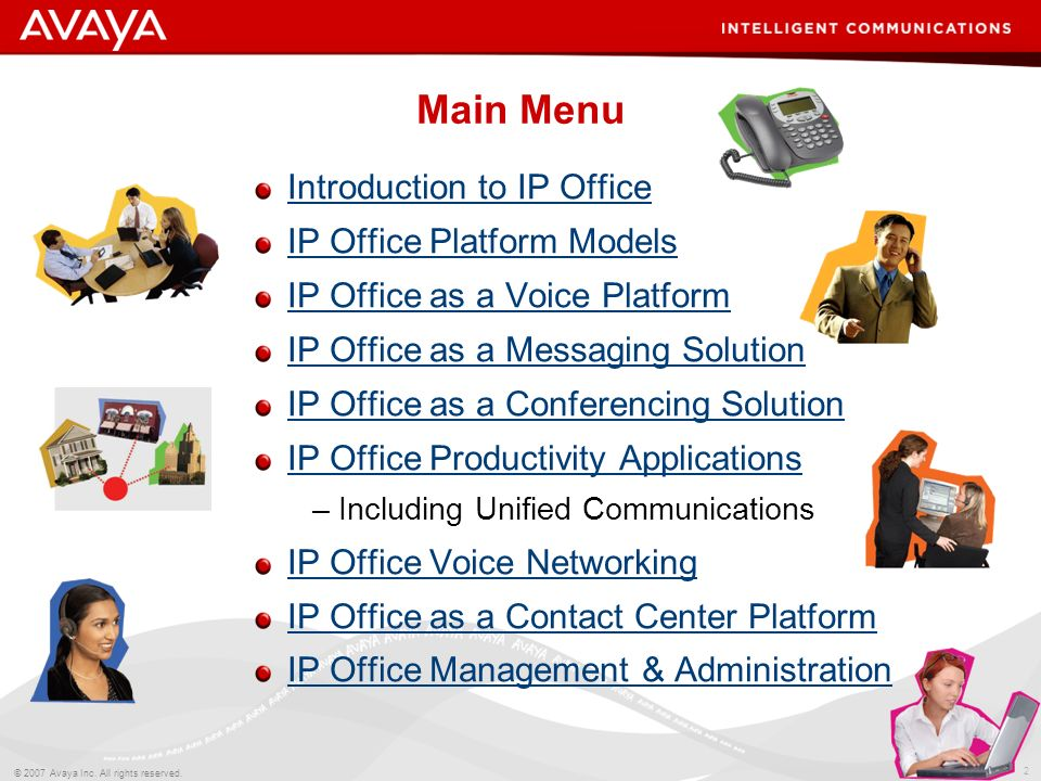1 © 2007 Avaya Inc. All rights reserved. Avaya IP Office Delivering Intelligent Communications to Small Businesses
