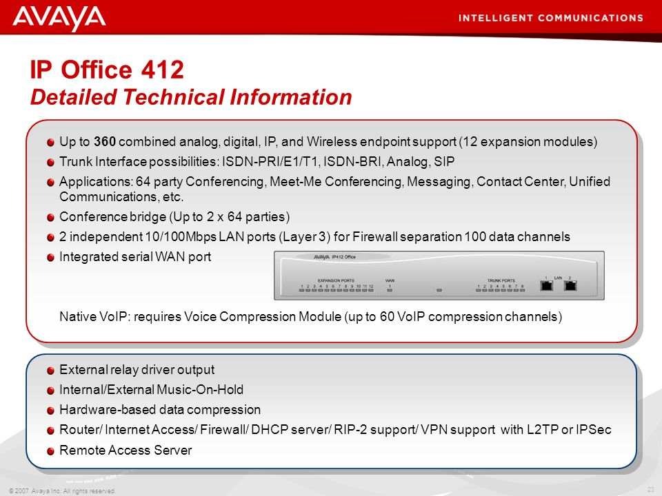 22 © 2007 Avaya Inc. All rights reserved. Agenda IP Office 412 details IP Office 500 details Optional Hardware