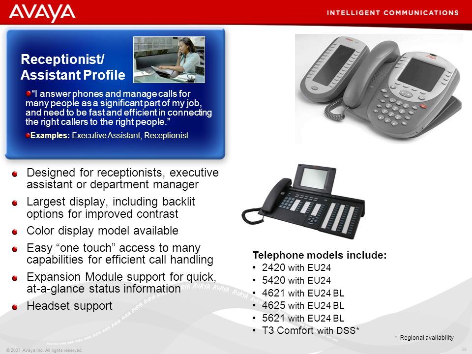 38 © 2007 Avaya Inc. All rights reserved. Ideal for the executive user with high calling volumes Largest display, including backlit models for improve