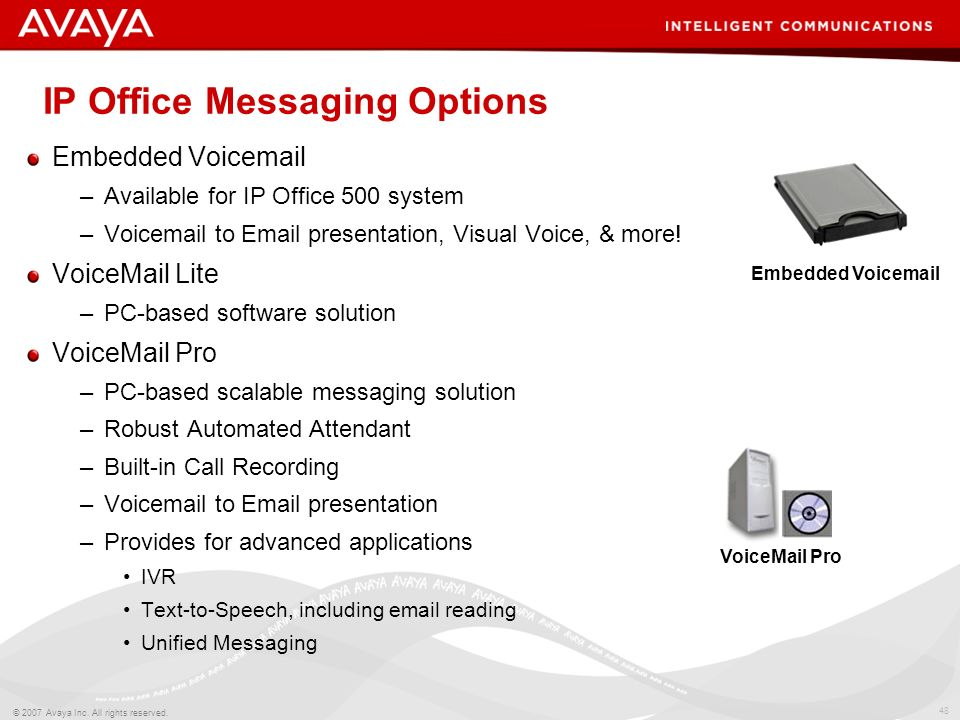 47 © 2007 Avaya Inc. All rights reserved. Agenda Messaging options Messaging & Mobility Messaging & Customer Service Message Management –Voicemail to